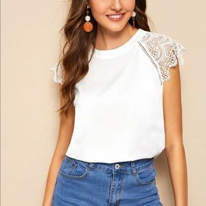 White lace sleeve blouse top scalloped contrast